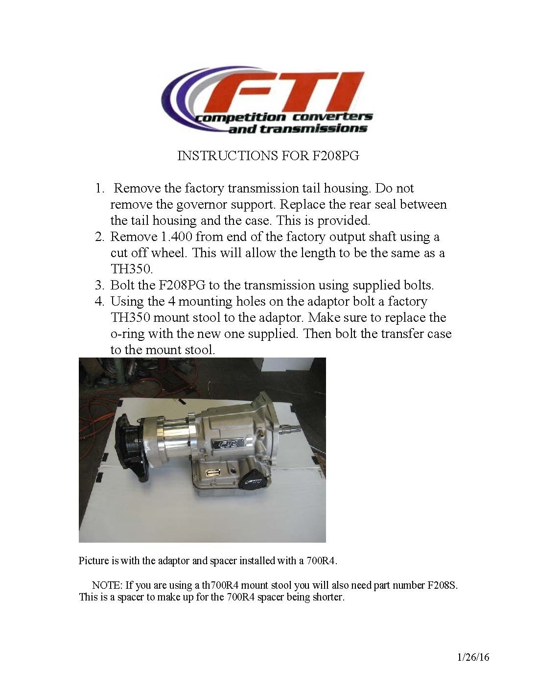 Powerglide To 208 Transfer Case Adaptor Instructions