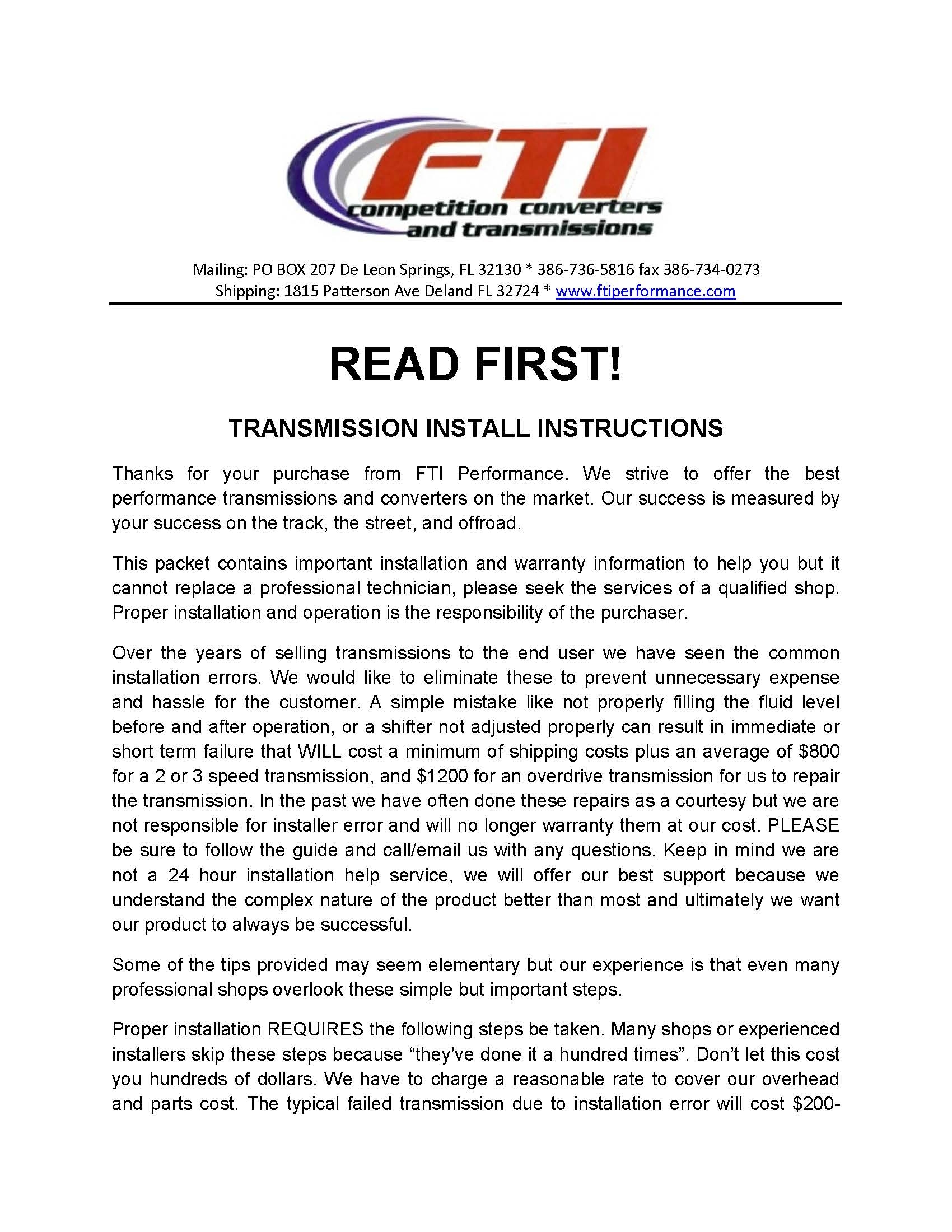 Fti Transmission Installation Instructions Powerglide Th400